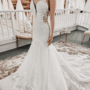 lace cut out wedding dress