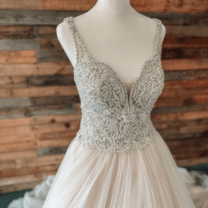 beaded and chiffon wedding dress