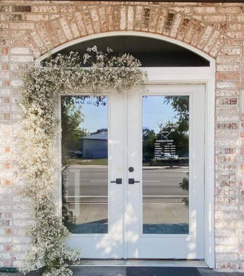 bridal boutique front doors