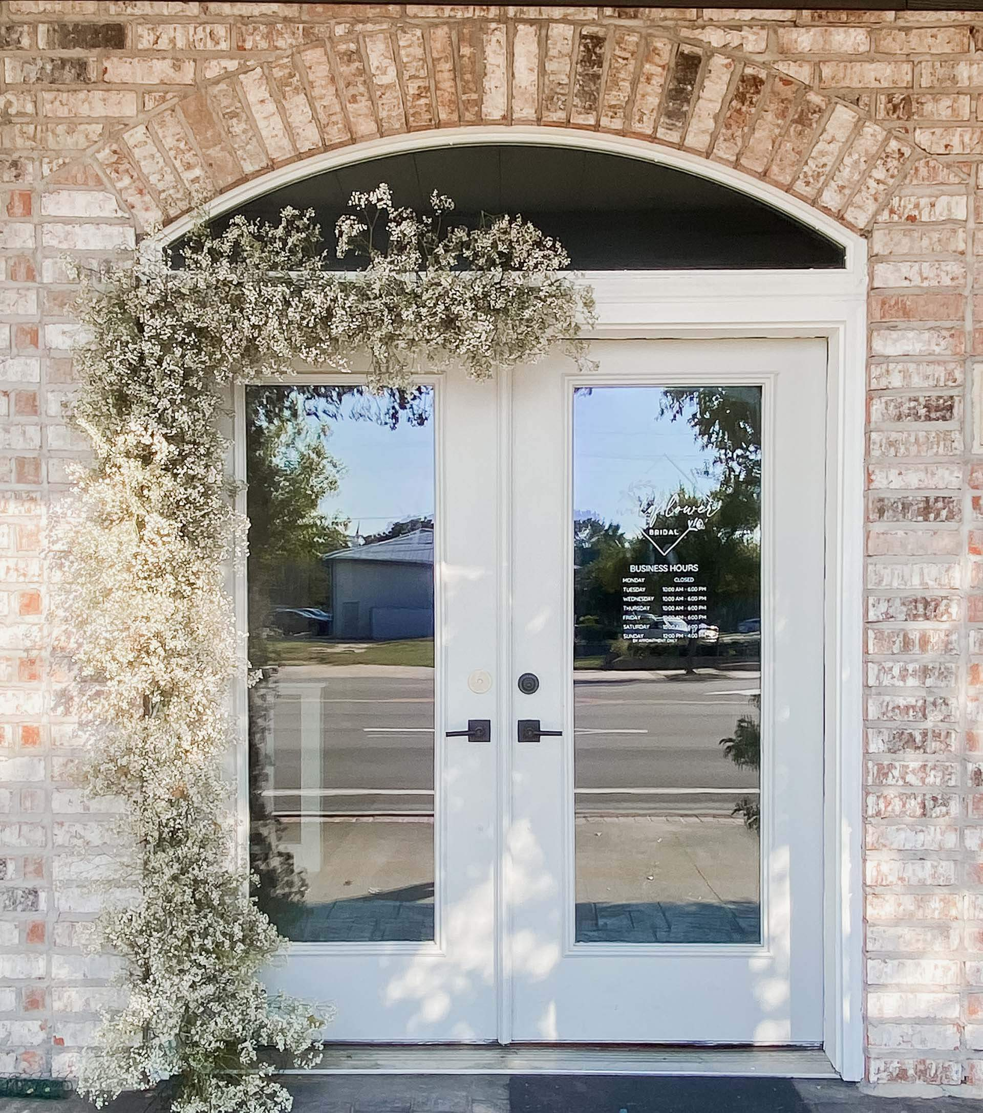 bridal boutique front doors