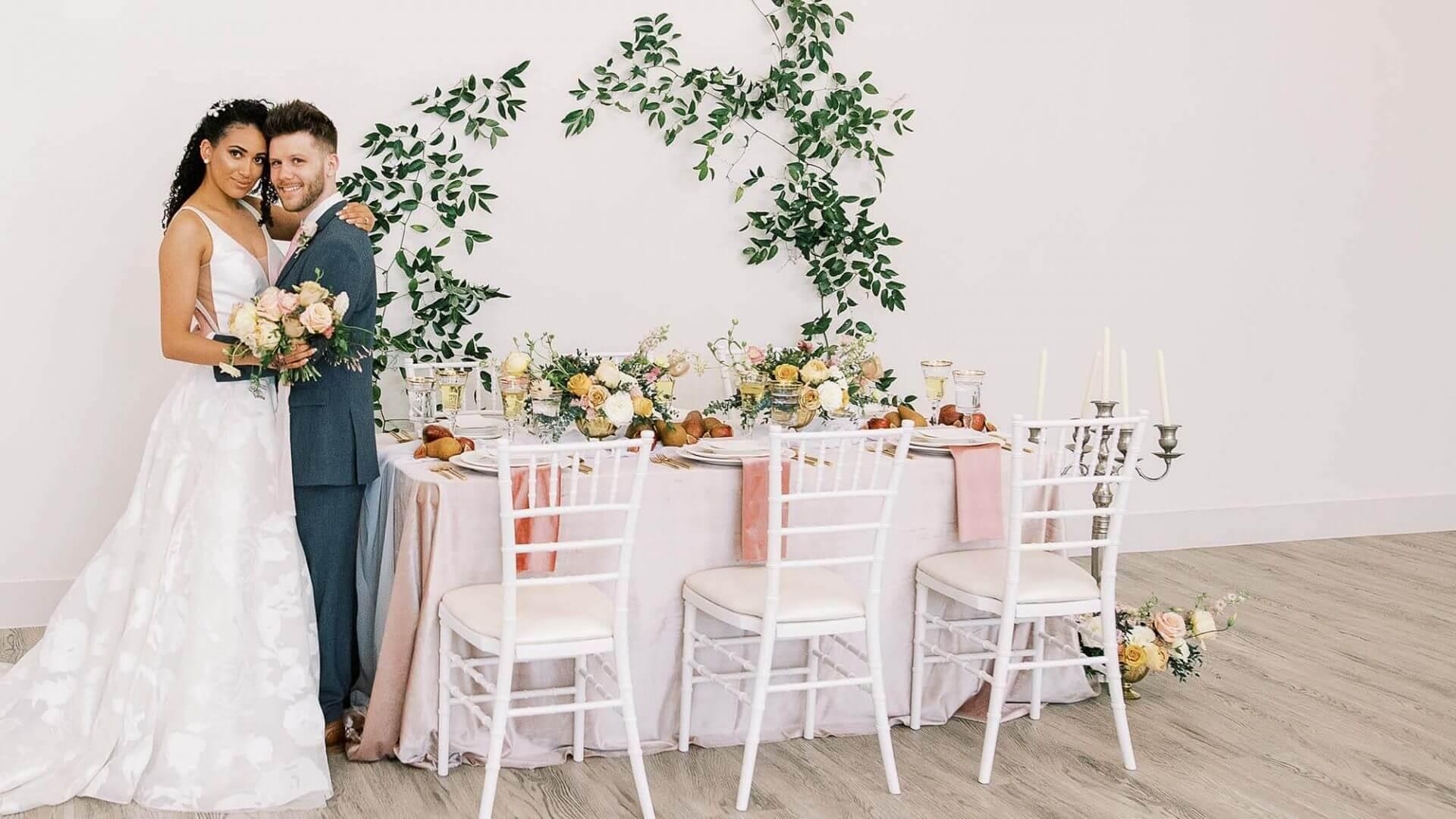 Bride and groom brighton abbey wedding venue