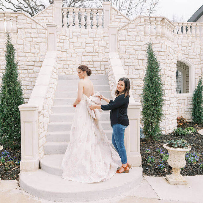 candice gold, bridal shop owner with bride